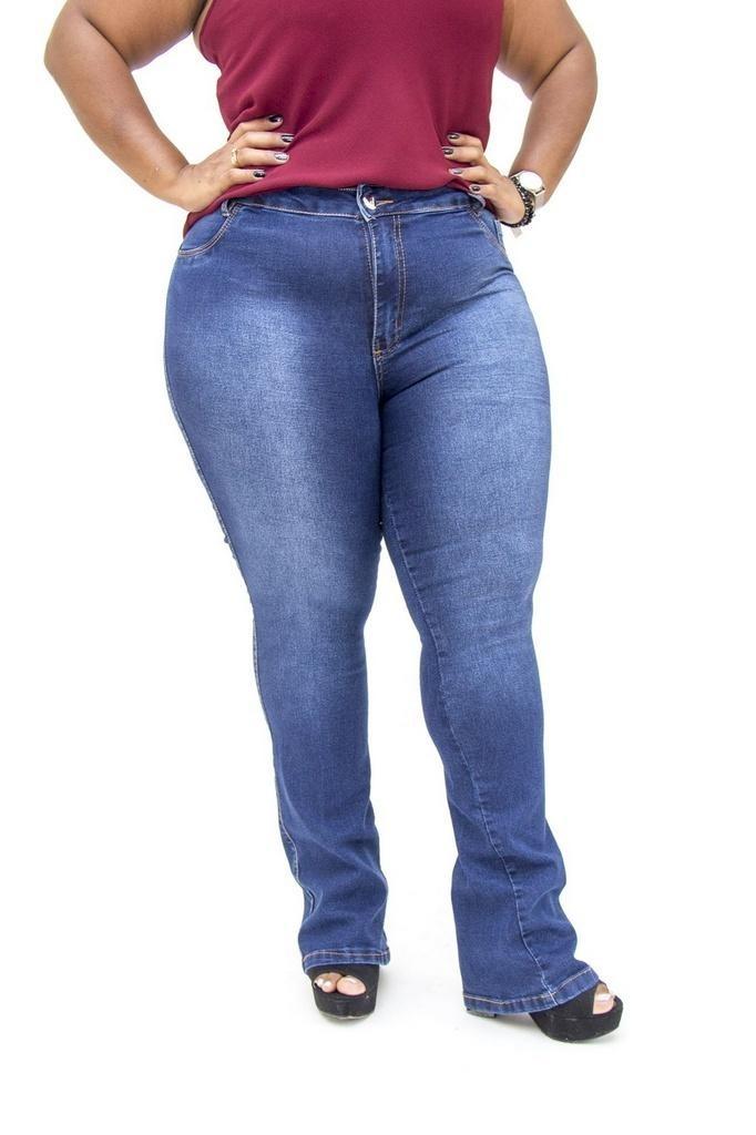 7f39ae385081 calça jeans credencial plus size flare giovana azul. Carregando zoom.