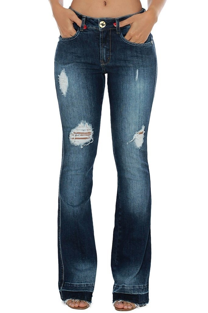 17e888d19 Calça Jeans Denuncia Mid Rise Flare Azul - R$ 79,90 em Mercado Livre