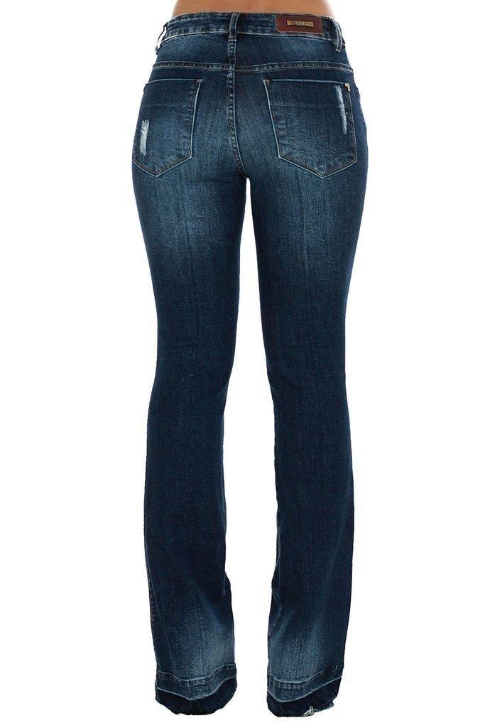 e2eea44e0 calça jeans denuncia mid rise flare azul. Carregando zoom.