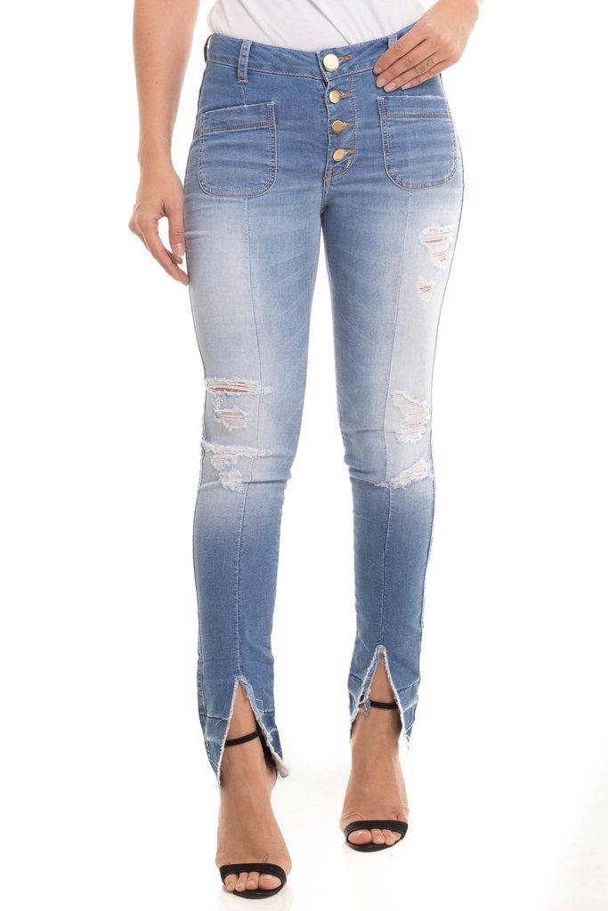 db5f20dcd Calça Jeans Denuncia Mid Rise Skinny Azul - R$ 79,90 em Mercado Livre