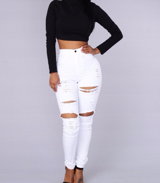 522aa8319 Calça Jeans Destroyed Branca Cintura Alta - R$ 110,00 em Mercado Livre