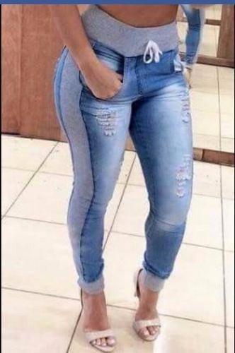 bd5371a17c Calça Jeans Destroyed Hot Pant Moletom Cós E Punho