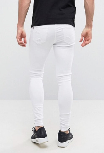 calça jeans destroyed offert super skinny strech rasgada