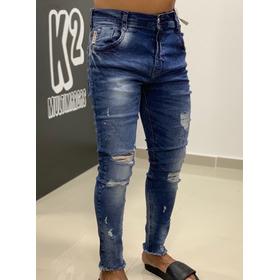 Calça Jeans Dgn Degrant Perseu Duo Line Jeans Escuro