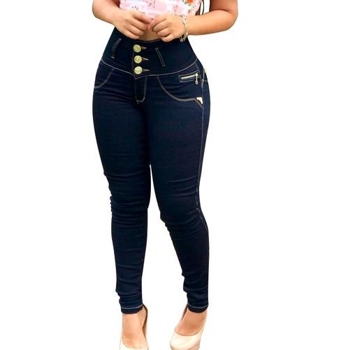 calça jeans escura roupa com estilo cós largo alto