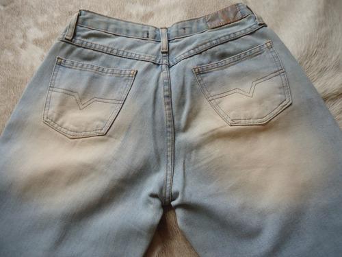 calça jeans femina clara, bordada, couro sawary tam 38