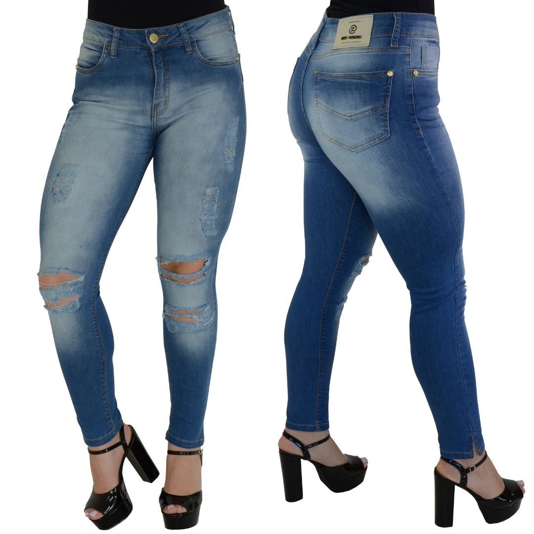 fbf555bce calça jeans feminina barra torta desfiada rasgada escura 18. Carregando zoom .