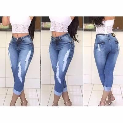 Calu00e7a Jeans Feminina - Calu00e7a Rasgada Capri - R$ 9800 em Mercado Livre
