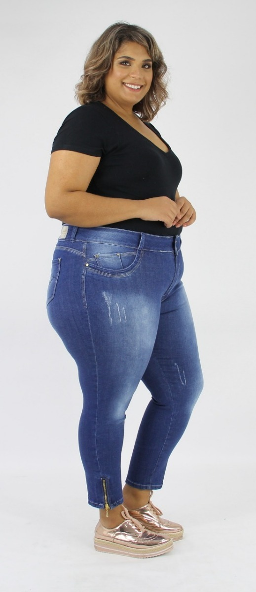 0ad57cd6697fba Calça Jeans Feminina Capri Croppd Plus Size Ziper Na Perna