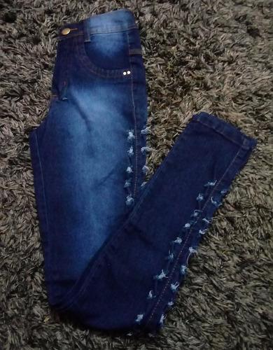 calça jeans feminina cintura alta azul escura furada cj006