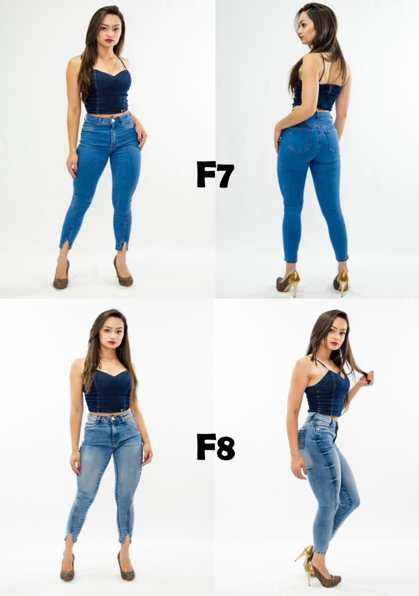 773c29db7 Calça Jeans Feminina Cintura Alta Barra V Fenda Luxo Premium - R  79 ...