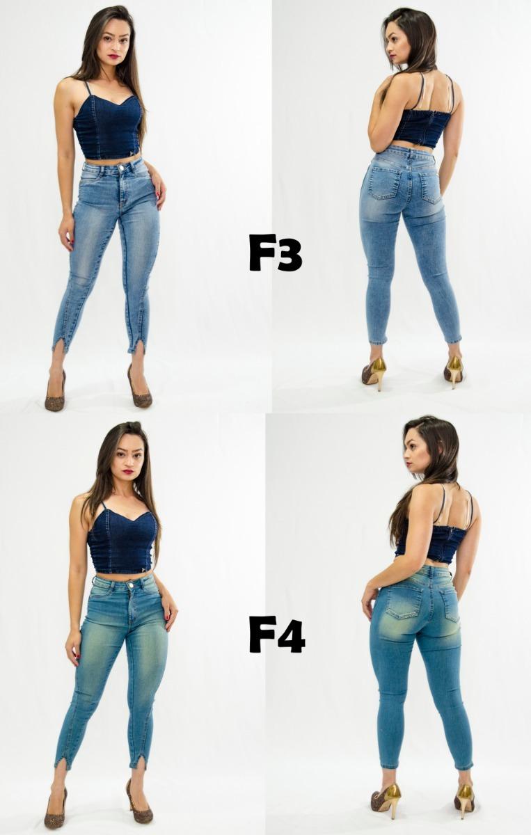 455ee1f3d4 Calça Jeans Feminina Cintura Alta Barra V Fenda Luxo Premium - R ...