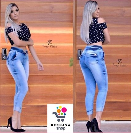 4d6095d5a09b64 Calça Jeans Feminina Cintura Alta Capri Cordinha Plus Size