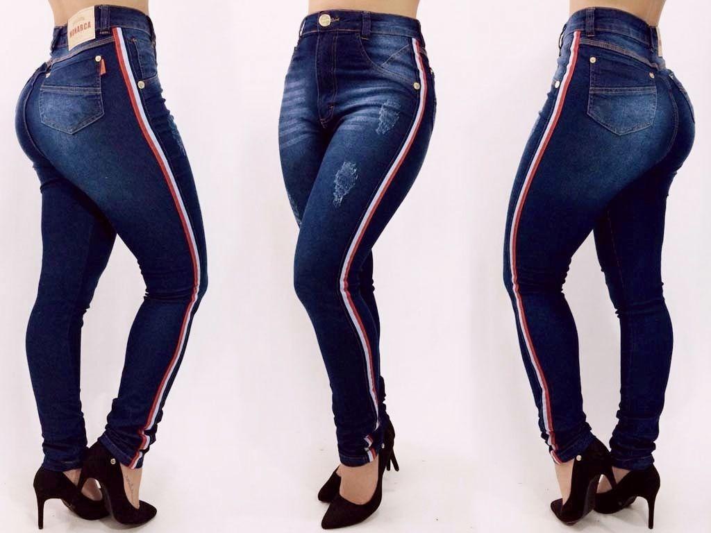 f1b9a505c calça jeans feminina cintura alta com listra moda blogueira. Carregando  zoom.