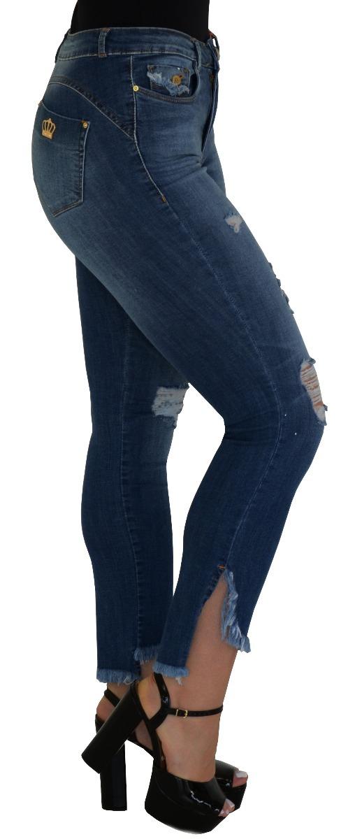 a318b5775 calça jeans feminina cintura alta cós alto destroyed rasgada. Carregando  zoom.