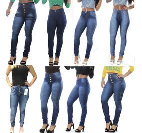 9d1469ce3ae Calça Jeans Feminina Cintura Alta E Média Cós Alto Promoção
