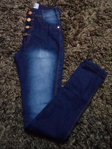 calça jeans feminina cintura alta escura manchada cj004