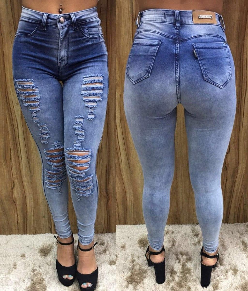 8daabb043 calça jeans feminina cintura alta rasgada destroyed original. Carregando  zoom.
