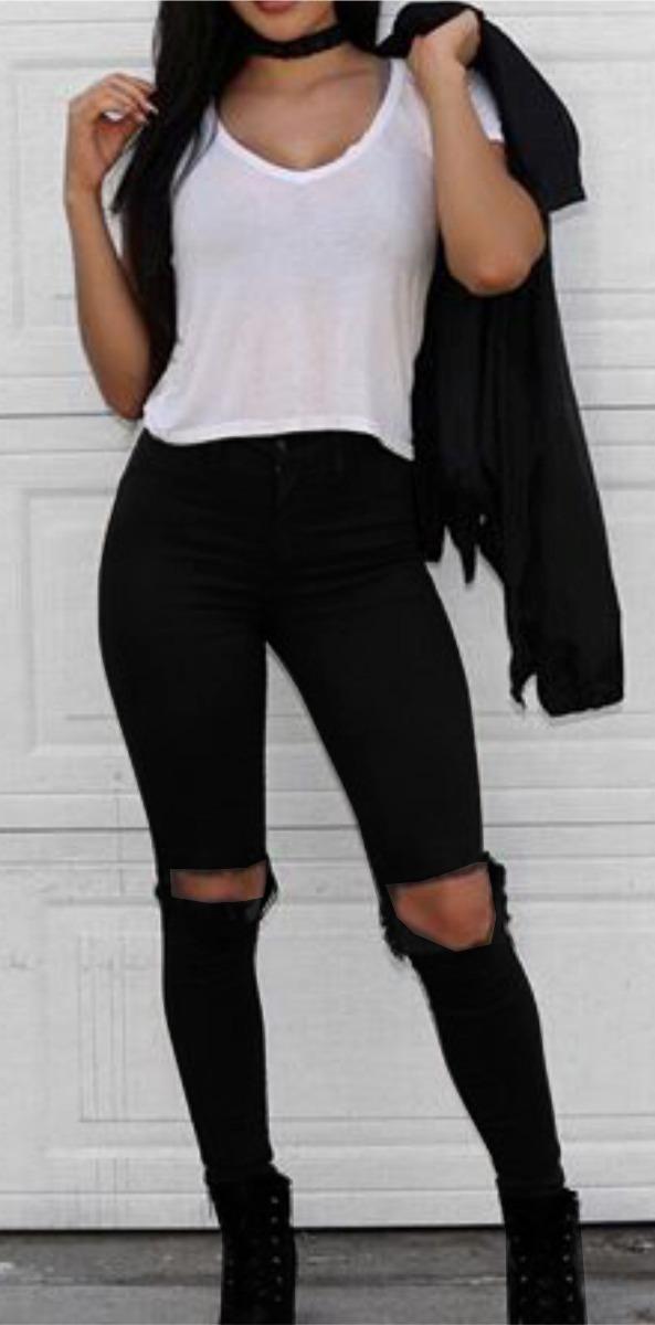 b4e45e9db calça jeans feminina cintura alta rasgada joelho lycra dins. Carregando  zoom.