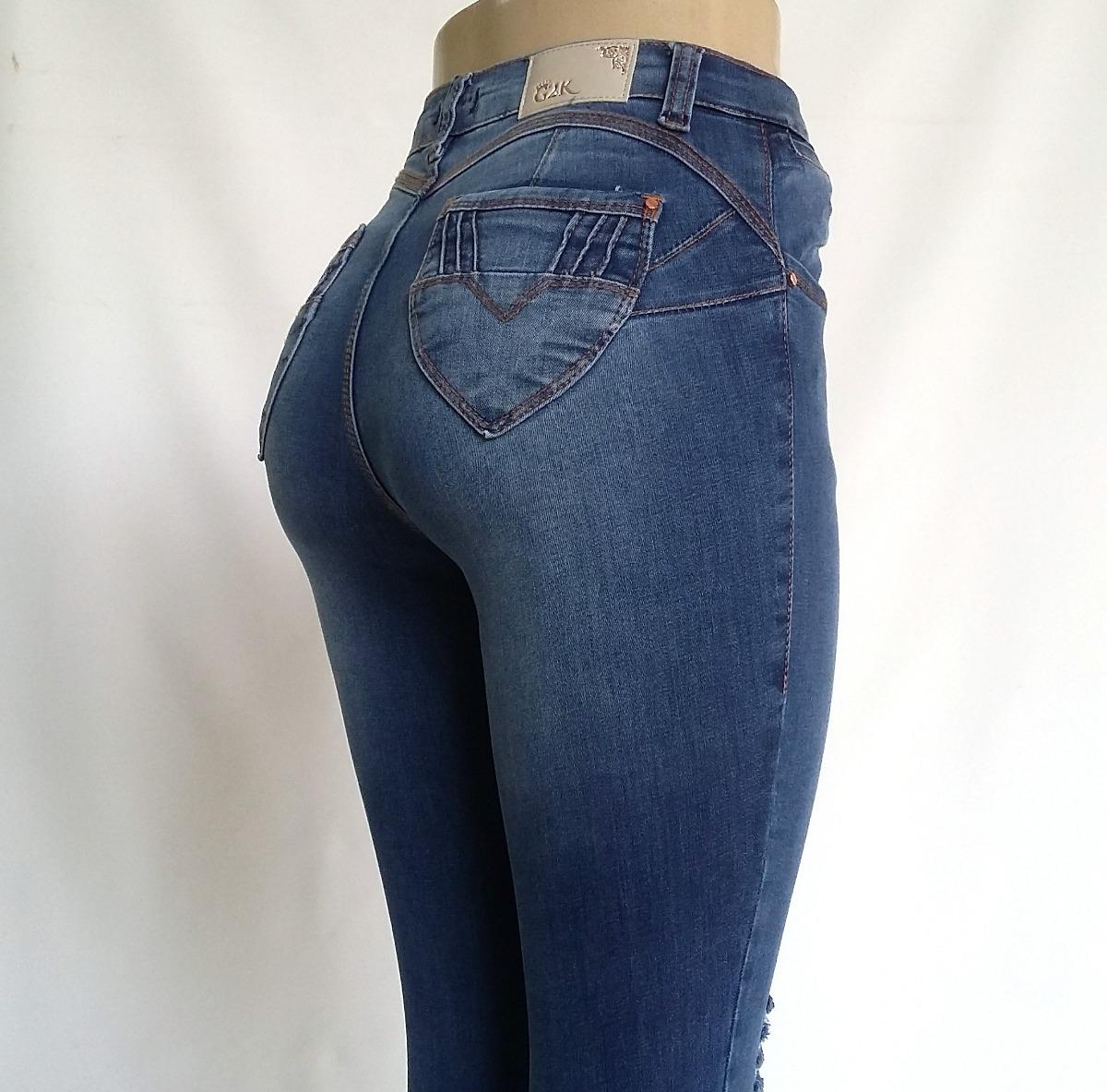 7e8f4140c calça jeans feminina cintura alta rasgada modela 1325. Carregando zoom.