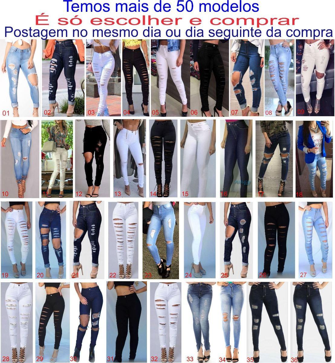 db1fc6efe calça jeans feminina cintura alta rasgada preta lycra dins. Carregando zoom.