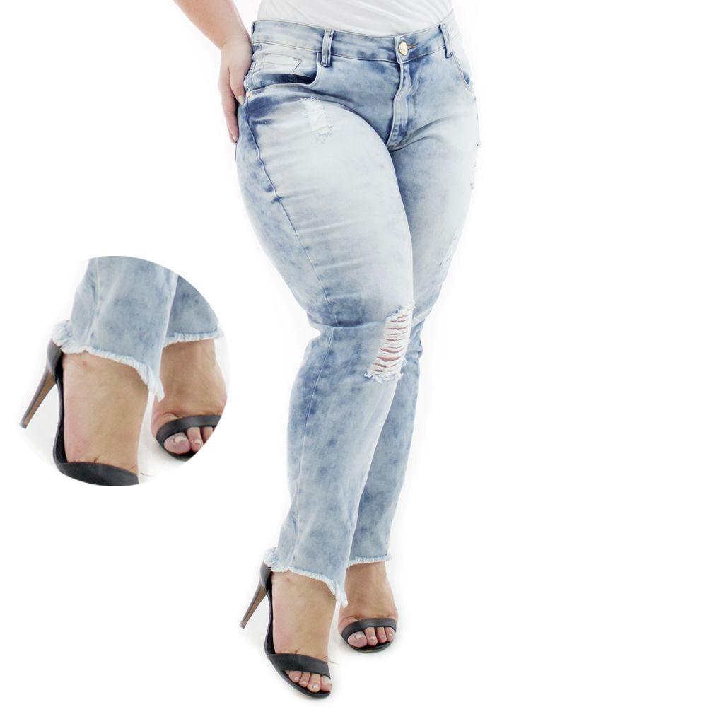 0d6c6b9a65202f Calça Jeans Feminina Cropped Destroyed Plus Size Caj212