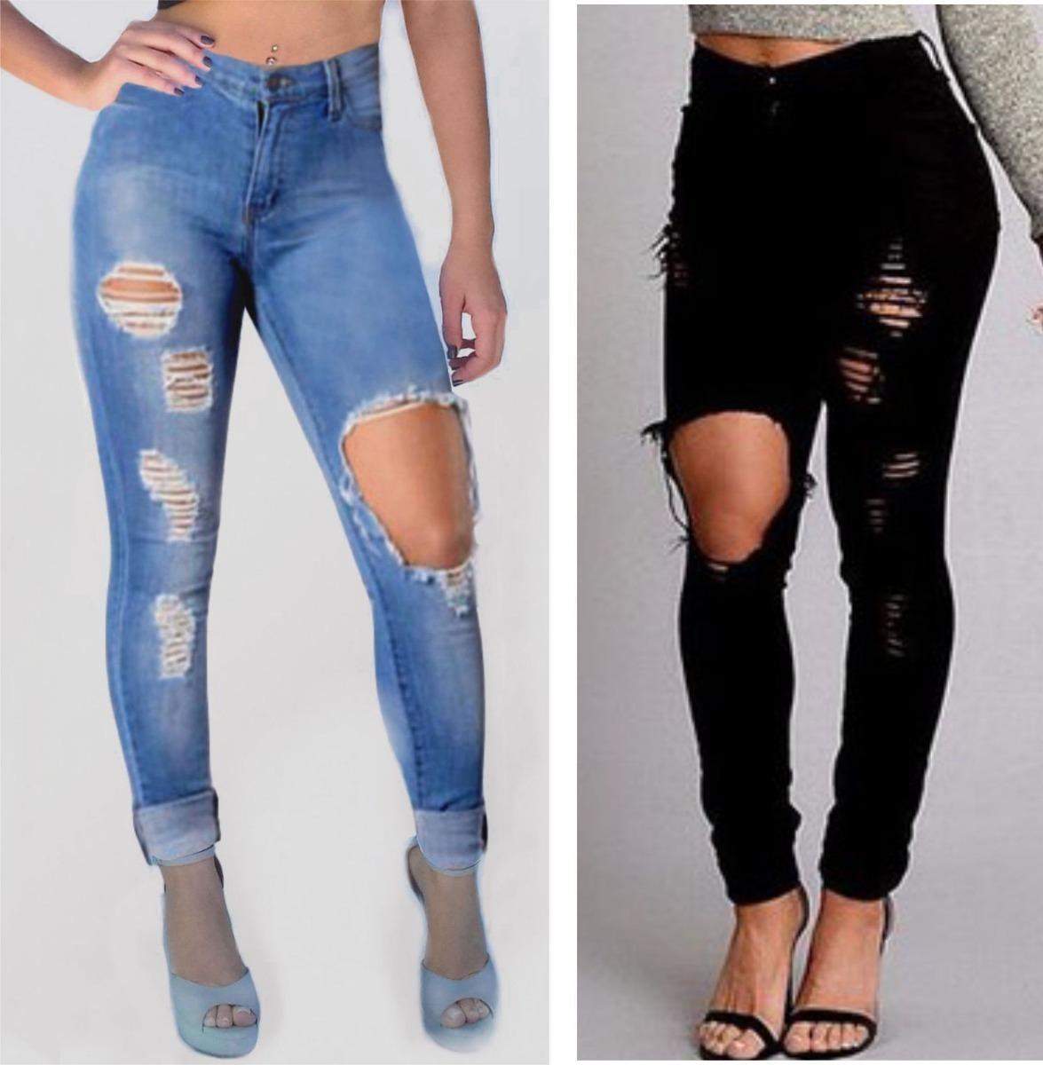 2f14ddfdd calça jeans feminina destroyed cintura alta rasgada preta. Carregando zoom.