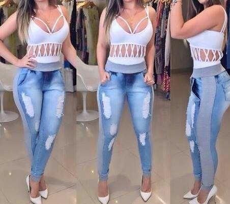 079b66051c Calça Jeans Feminina Destroyed Cós E Punho De Moletom - R  89