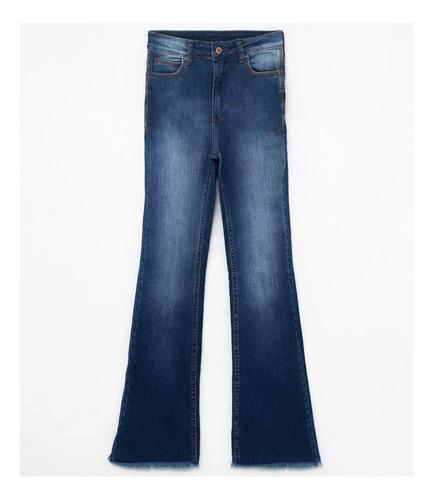 calça jeans feminina flare com barra desfiada be red 2120049