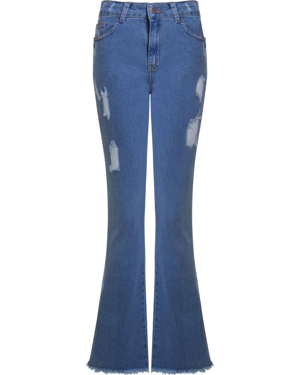 5cc885f21 calça jeans feminina flare destroyed com barra desfiada seik. Carregando  zoom.