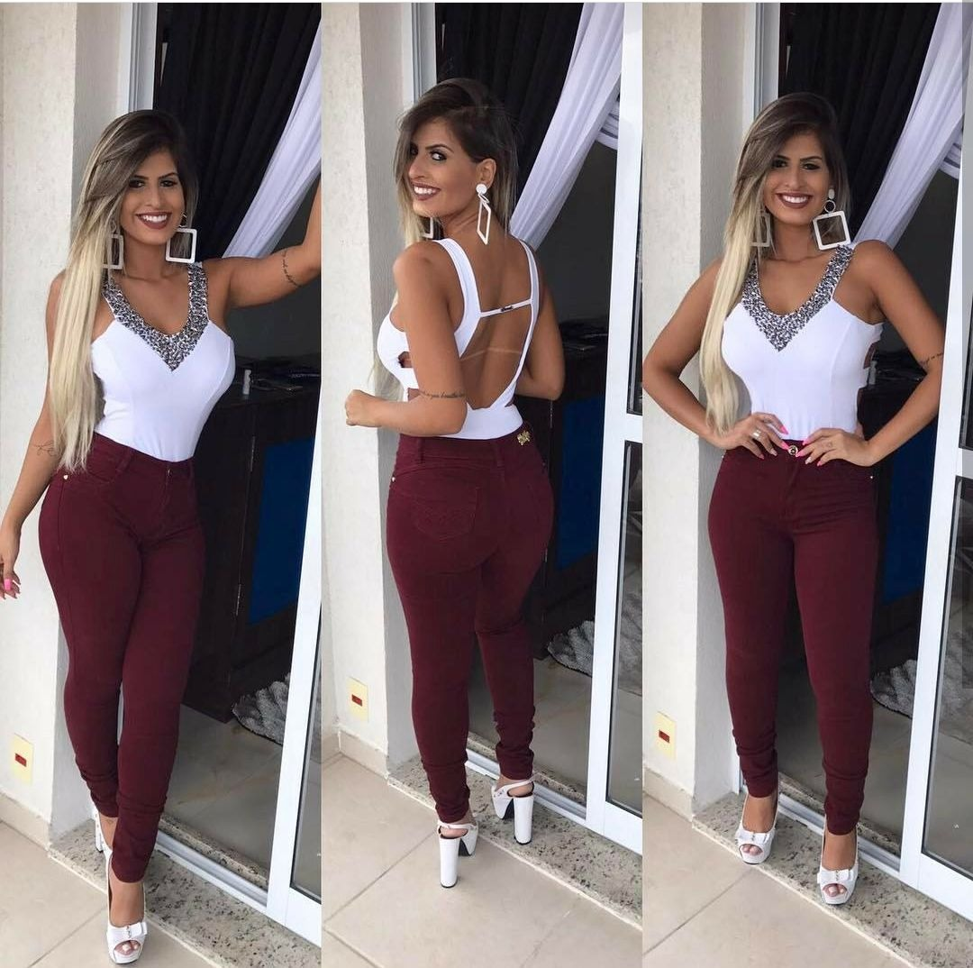 aa3d35ad5f calça jeans feminina flare e skinny cintura alta lycra linda. Carregando  zoom.