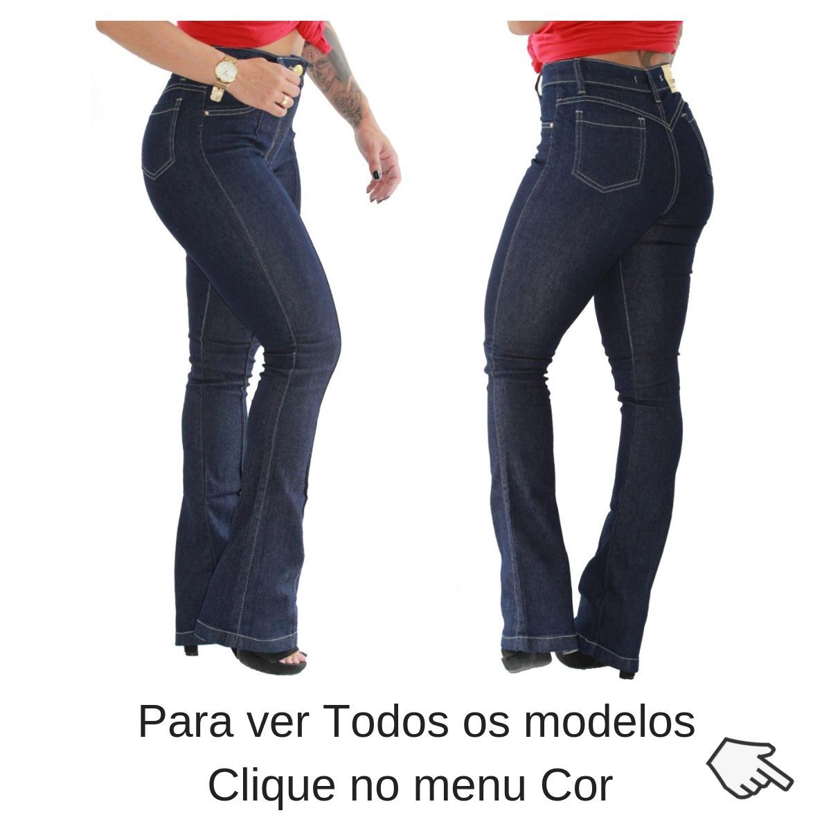82a17551435c6 calça jeans feminina flare e skinny vários modelos + brinde. Carregando zoom .