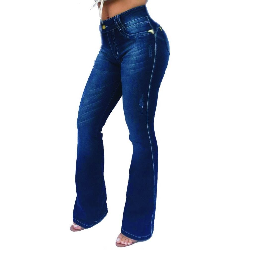 f24a6458d4 Calça Jeans Feminina Flare Estilo Pitbull Sawary - R$ 139,99 em ...