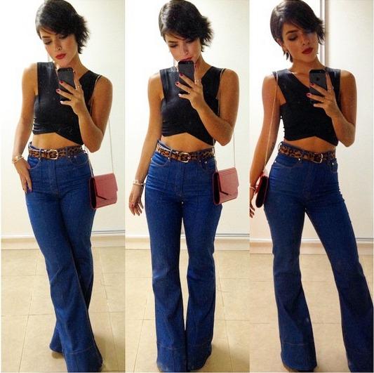 ab946467a Calça Jeans Feminina Flare Hot Pants Cós Alto Com Elastano - R  139 ...