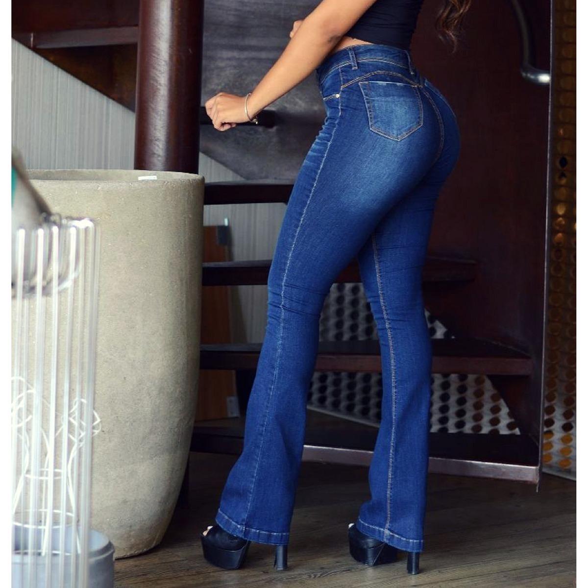 calça jeans feminina flare levanta bumbum cintura alta dins. Carregando  zoom. 21f2deae882