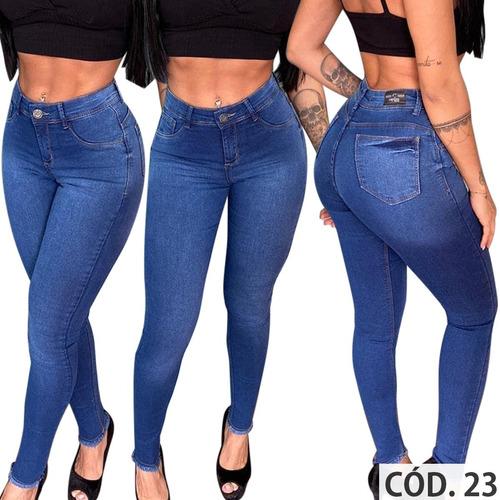 calça jeans feminina flare skinny hot pants com lycra top