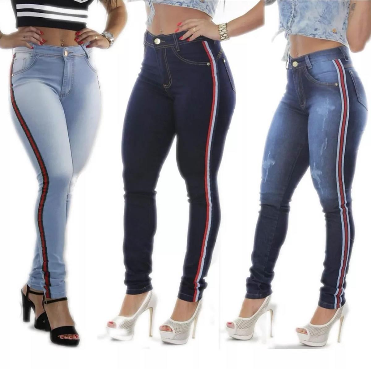 Calça Jeans Feminina Hot Levanta Bumbum Cintura Alta Listra - R  48 ... 1ae0b186f89