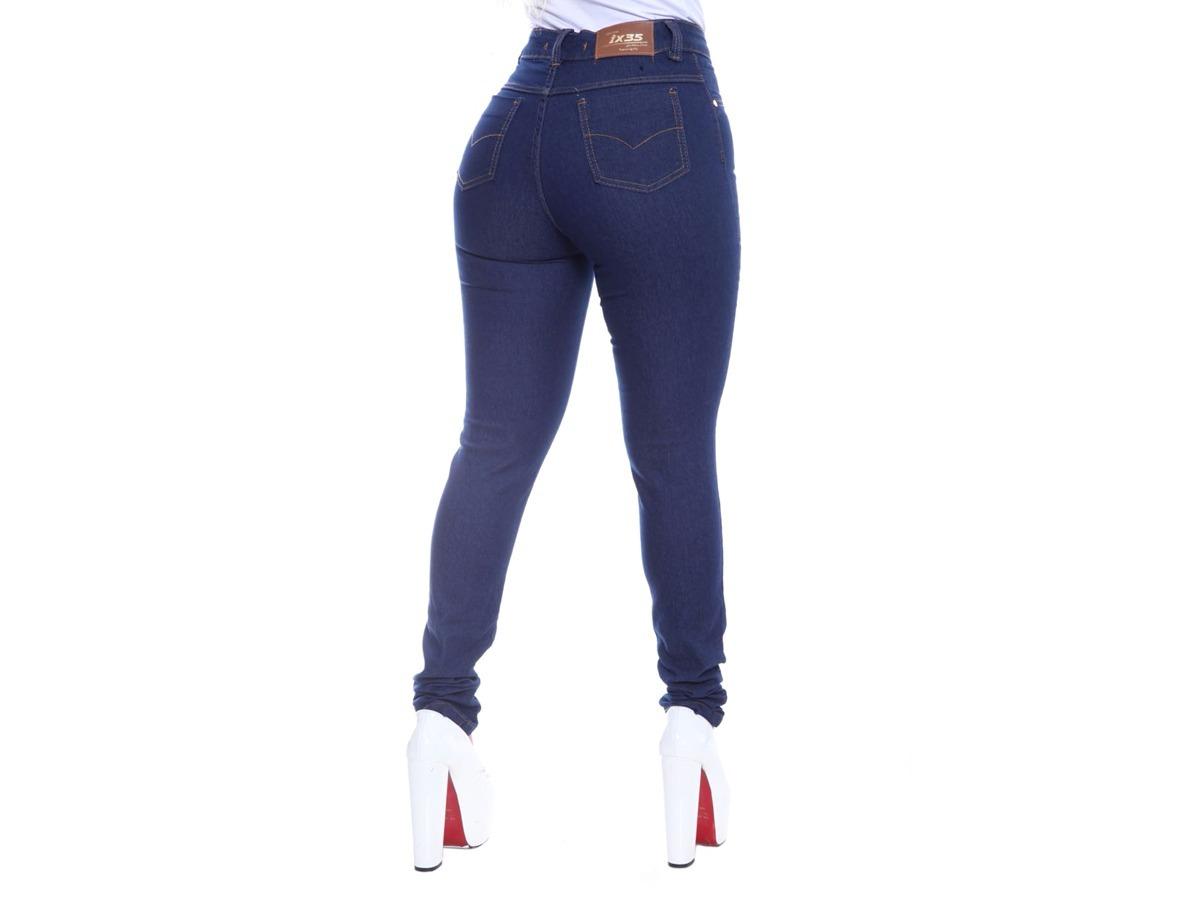 7e7e124aa calça jeans feminina hot pants cintura alta 4 botões lycra. Carregando zoom.