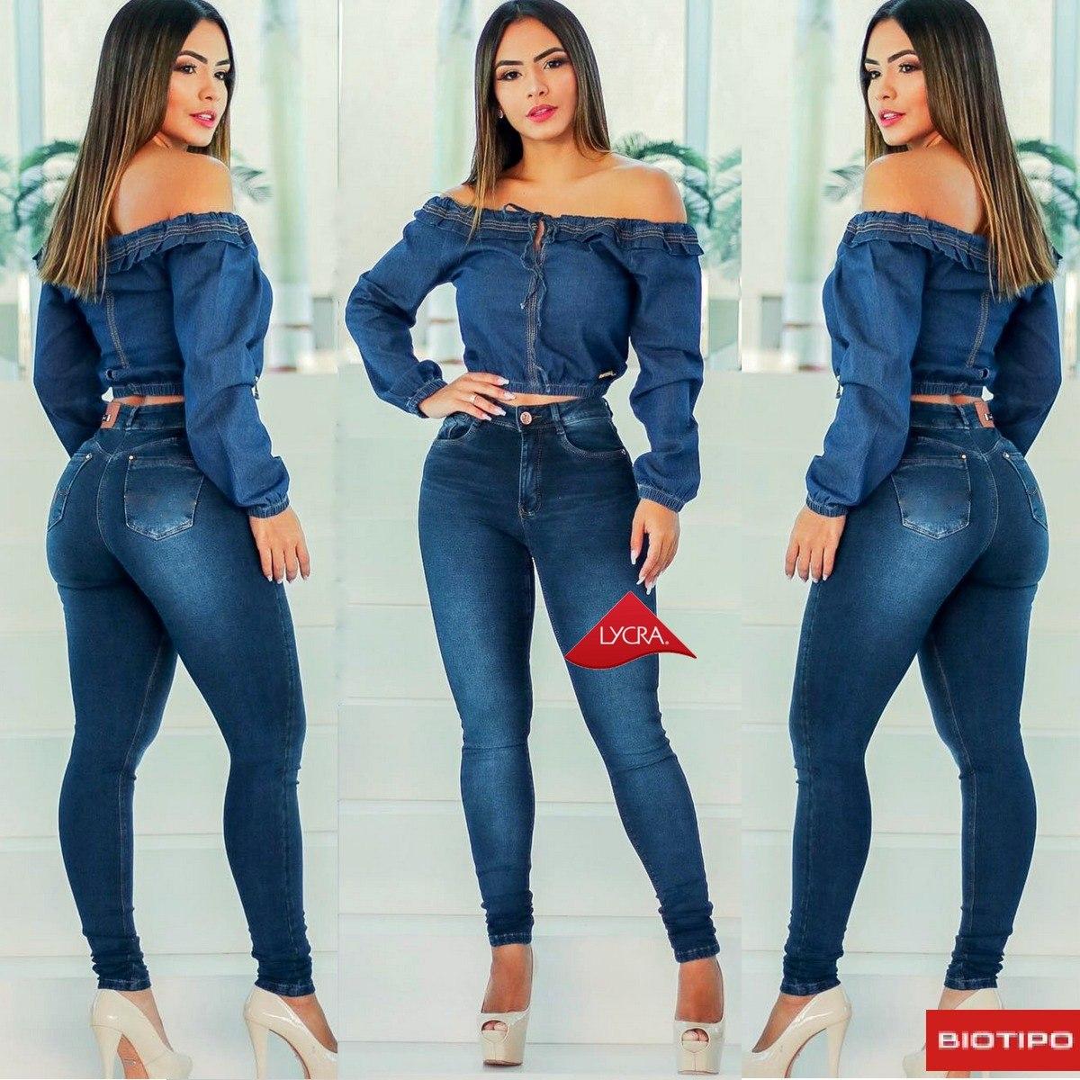 bb9f70d41 calça jeans feminina levanta bumbum cintura alta lycra dins. Carregando zoom .