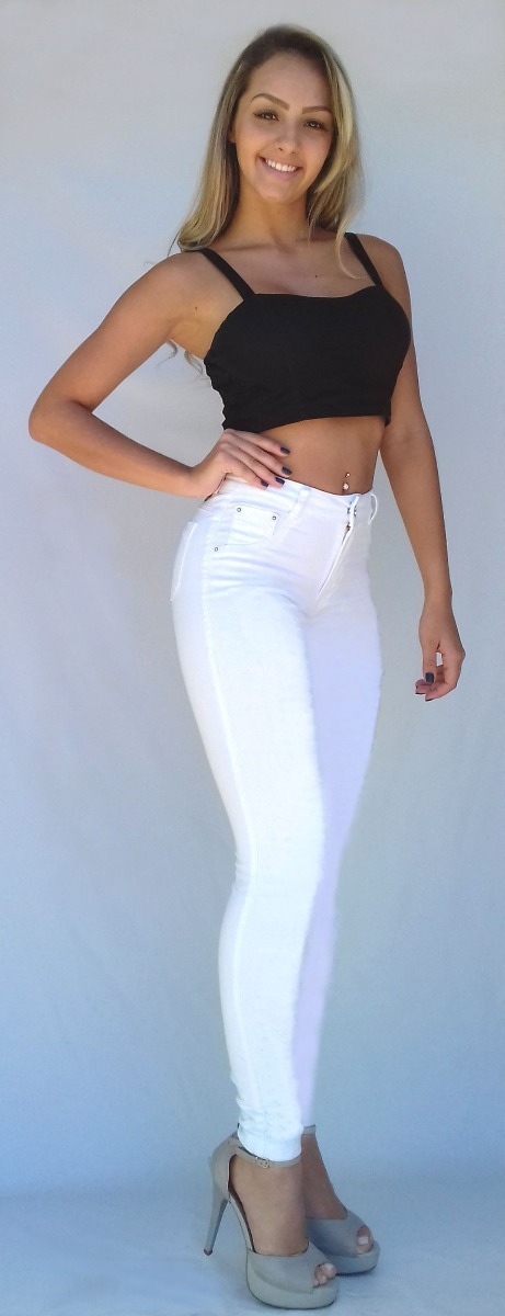 3ee6ce252 calça jeans feminina levanta bumbum cós alto strech dins. Carregando zoom.