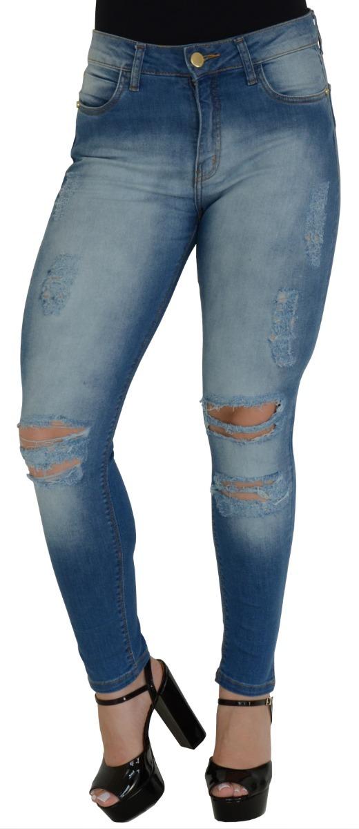 5a776552c1 calça jeans feminina lycra clara rasgada desfiada moda verão. Carregando  zoom.