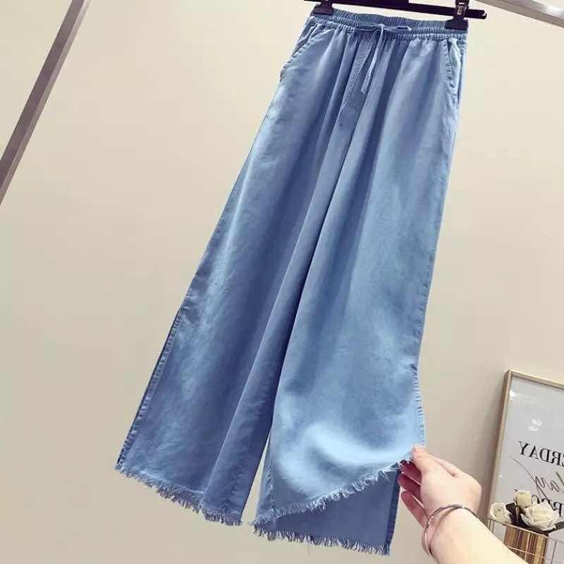 7a6f92de40 calça jeans feminina pantalona fenda 100%algodao moda 2019. Carregando zoom.
