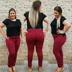 e1ab6df42 Calca Jeans Cintura Alta Vinho - Calças Jeans Feminino no Mercado Livre  Brasil