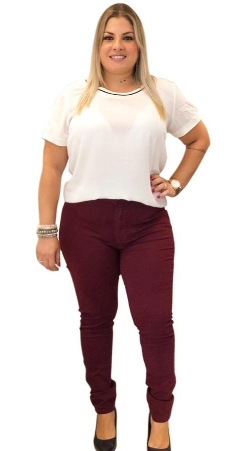 343e9e47f calça jeans feminina plus size bordô vinho vermelha marsala. Carregando zoom .