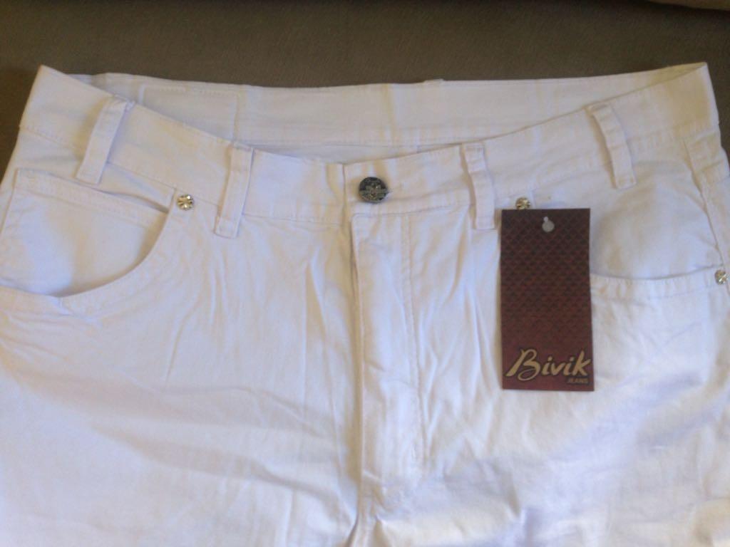 34cda21405e792 Calça Jeans Feminina Plus Size Branca Bivik Do 34 A 56