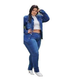 f3be461bd Calça Jeans Feminina Plus Size Com Camisa Jeans Frete Gratis