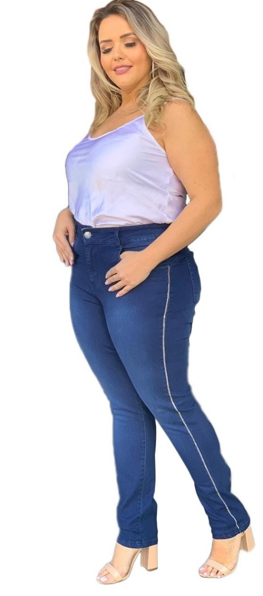 0ecb6d708 calça jeans feminina plus size lycra tamanhos grande 46 a 60. Carregando  zoom.
