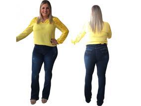da77678a532745 Calça Jeans Feminina Plus Size Rasgada 46/60 Tamanho Grande!