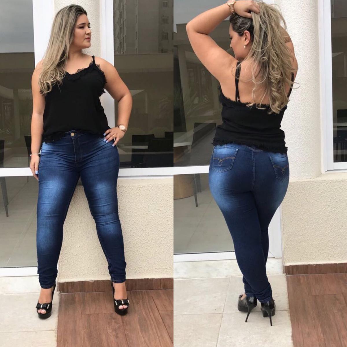 9ef5811f5 calça jeans feminina plus size rasgada lycra cintura alta. Carregando zoom.