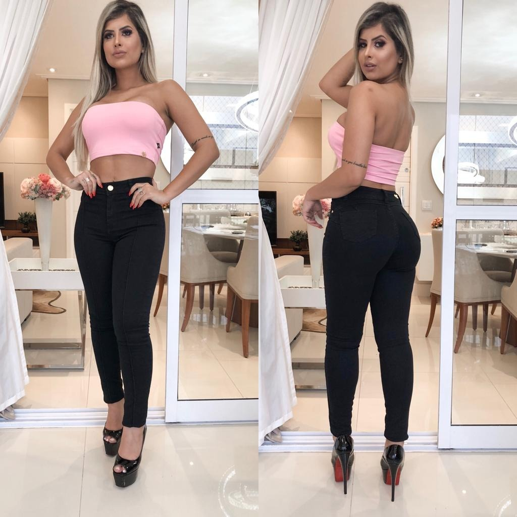 2ba57087d Calça Jeans Feminina Preta Com Nervura Levanta Bumbum - R$ 119,99 em ...